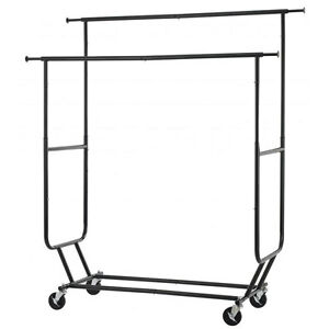 150lb Adjustable Double Rolling Bar Rail Rack Clothes Garment Rack Hanger