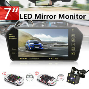 7 Car Rear View Backup Mirror Monitor Lcd wired Reverse Led Camera System Kit