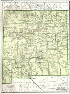 1945 Antique New Mexico State Map Vintage Map Of New Mexico Wall Art 6446