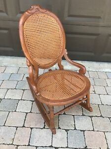 Victorian Walnut Sewing Rocker With Cane Seat And Back In Original Condition