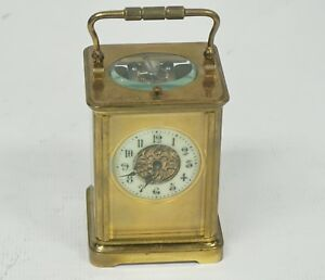 Rare Antique French Repeater Carriage 8day Masked Dial Platform Escapement Clock