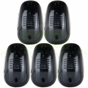 5pcs Cab Marker Roof Clearance Light Smoke Cover Bases For 03 16 Dodge Ram 2500