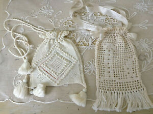 2 Antique Crocheted Edwardian Bags Silk Ribbon Initial L Drawstring Purse Tassel