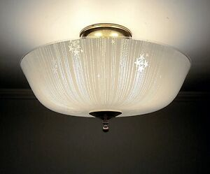 Antique Mid Century Modern 1950s Vintage Glass Ceiling Light Fixture 15 Wide