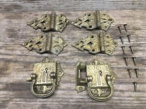 Vintage Gold Brass Color 4 Hinges 2 Latches Very Ornate