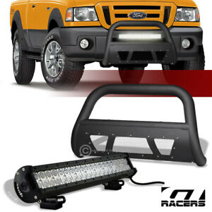 98 11 Ford Ranger Matte Blk Studded Mesh Bull Bar Guard 120w Cree Led Fog Light