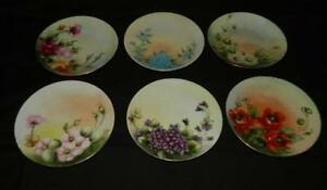 6 Hand Painted Plates Poppy Violets Roses Daisy Herman Ohme Antique Free Ship