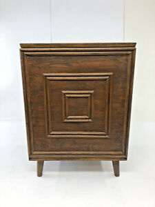 Vintage Record Cabinet Mid Century Modern Vinyl Storage Danish Lp Wood End Table