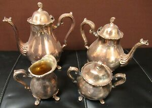 Vintage Wilcox Joanne International Silver Plate Coffee And Tea Set 4 Piece Set
