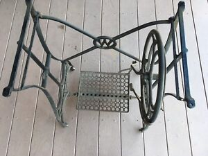 Vintage Original Cast Iron White Treadle Sewing Machine Base With Wheels