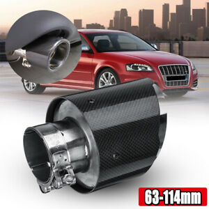 Real Carbon Fiber Auto Suv Exhaust Pipe Muffler End Tips For Car 63mm 114mm