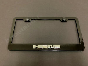 1x Hemi 3d Emblem Black Stainless License Plate Frame Rust Free Screw Cap