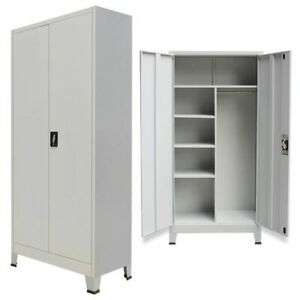 Locker Cabinet Heavy Duty Office School Storage Organizer With 2 Doors Metal