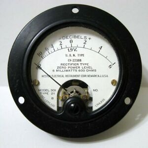 Weston Decibels Model 301 21 Usn Type Cv 22338 Round Black Panel Meter