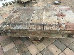 Vintage Townsley Industrial Cart Factory Cart Cast Wheels