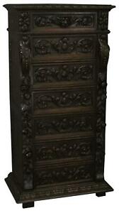 Chest Of Drawers Antique French Renaissance 1880 Heavily Carved Oak