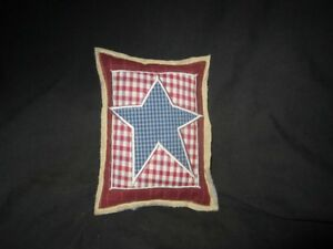 Primitive Quilted Star Pillow Blue Barn Red A