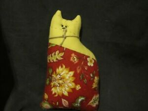 Primitive Quilted Cat Doll Mustard Red Sage