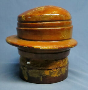Antique Capitol Hat Block Five Piece Puzzle Form Millinery Marked 5872 22 Vgc