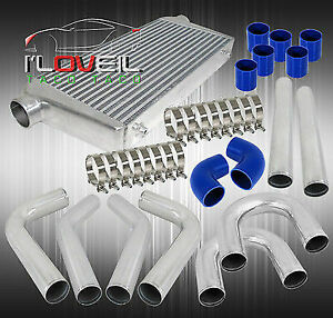 3 Aluminum Pipe Piping Kit Jdm Intercooler Turbo Boost blue Couplers clamps