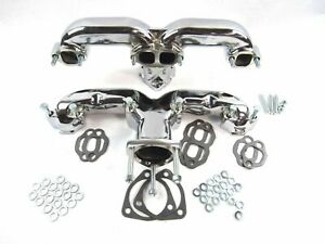 Chrome Chevy 305 350 383 Cast Iron Ram Horn Exhaust Manifolds Corvette