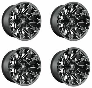 Set 4 22 Fuel Battle Axe D578 Black Milled Wheels 22x12 6x135 6x5 5 44mm Truck