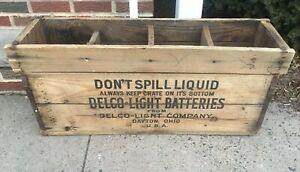 Vintage Delco Light Battery Wooden Wood Advertising Shipping Crate Dayton Ohio