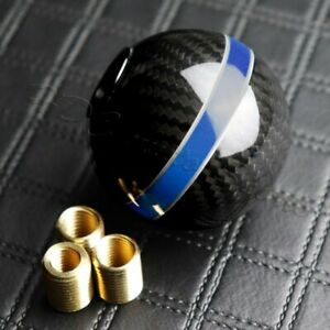 Universal Real Carbon Fiber Ball Manual Mt Gear Shift Shifter Knob W Blue Stripe
