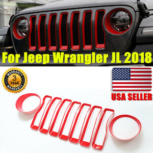 Red Mesh Grille Grill Insert headlight Covers Trim For Jeep Wrangler Jl 2018 Usa