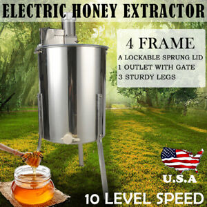 Electric 4 Frame Stainless Steel Honey Extractor Centrifuge lid Beekeeper Tool