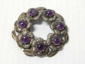 Antique Vintage Mexican Heirloom Amethyst Sterling Silver Pin Mexico Estate