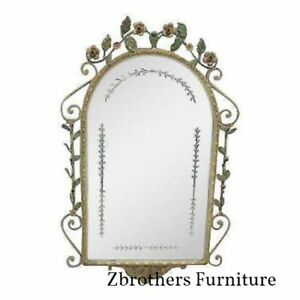 Antique Wrought Iron Filigree Hanging Dresser Etch Wall Mirror