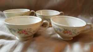 Lot Of 4 Vintage Yellow Porcelain Tea Cups Pink Floral And Gold Accents Rr12