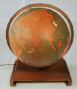 Rand Mcnally 12 Lighted Indexed Terrestrial Globe W Book Holder Wood Base Vgc