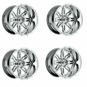 Set 4 20 Fuel Hostage D530 Chrome Wheels 20x10 8x170 18mm Lifted Truck Rims