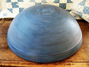 Huge Early Antique Dough Bowl W Wide Rim Soldier Blue Milk Paint 19 1 4