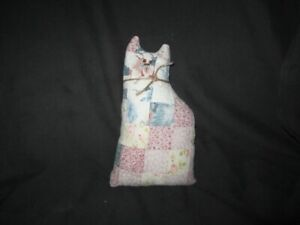 Primitive Quilted Cat Doll White Rose Blue Green
