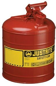 Five Gallon Gas Can 5 Gal Gl Metal Sturdy Steel Round Large Big For Lawn Mower A