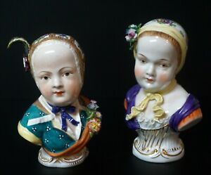 Two Antique Porcelain Female Bust Figures Dresden Potschappel Carl Thieme