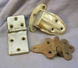 3 Odd Antique Ice Box Hinges As Found
