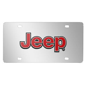 Jeep Red 3d Logo Mirror Chrome Stainless Steel License Plate