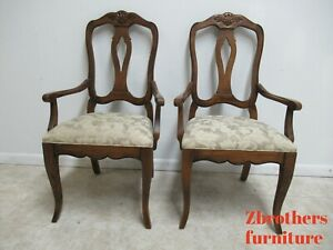 Pair Ethan Allen Country French Carved Dining Room Arm Chairs 216