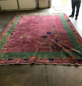 Vintage Nichols Chinese Hand Woven Art Deco Rug 9 X 6 Reduced