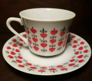 Vtg Mid Century Relpo Heart Teacup Saucer Queen Hearts Valentines Free Shipping
