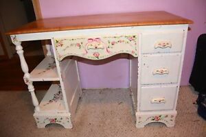 Pink Rose Hand Painted Wooden Vintage School Office Computer Desk And Chair