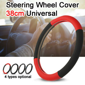 Style And Comfort Steering Wheel Cover Red Black Soft Leather Look