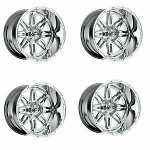Set 4 20 Fuel Hostage D530 Chrome Wheels 20x10 6x135 6x5 5 18mm Lifted Truck