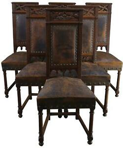 Dining Chairs Antique French Gothic Set 6 Oak Wood Leather 1900