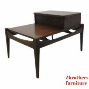 Vintage Mid Century Danish Modern Walnut Floating Lamp End Table Night Stand