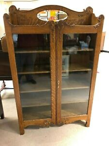 Antique Oak Double Door Bookcase 4 Shelves Late 1800 S